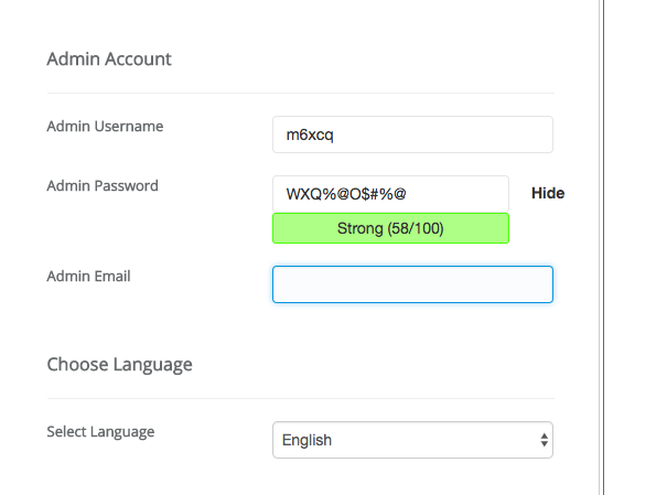 username and password WP
