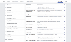 page settings in facebook