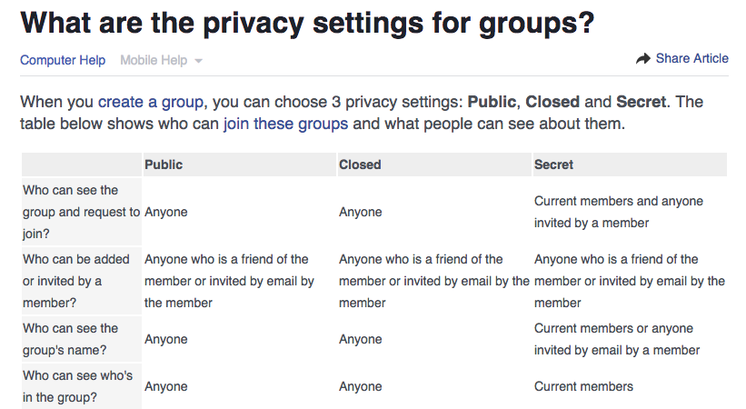 privacy policy on facebook groups
