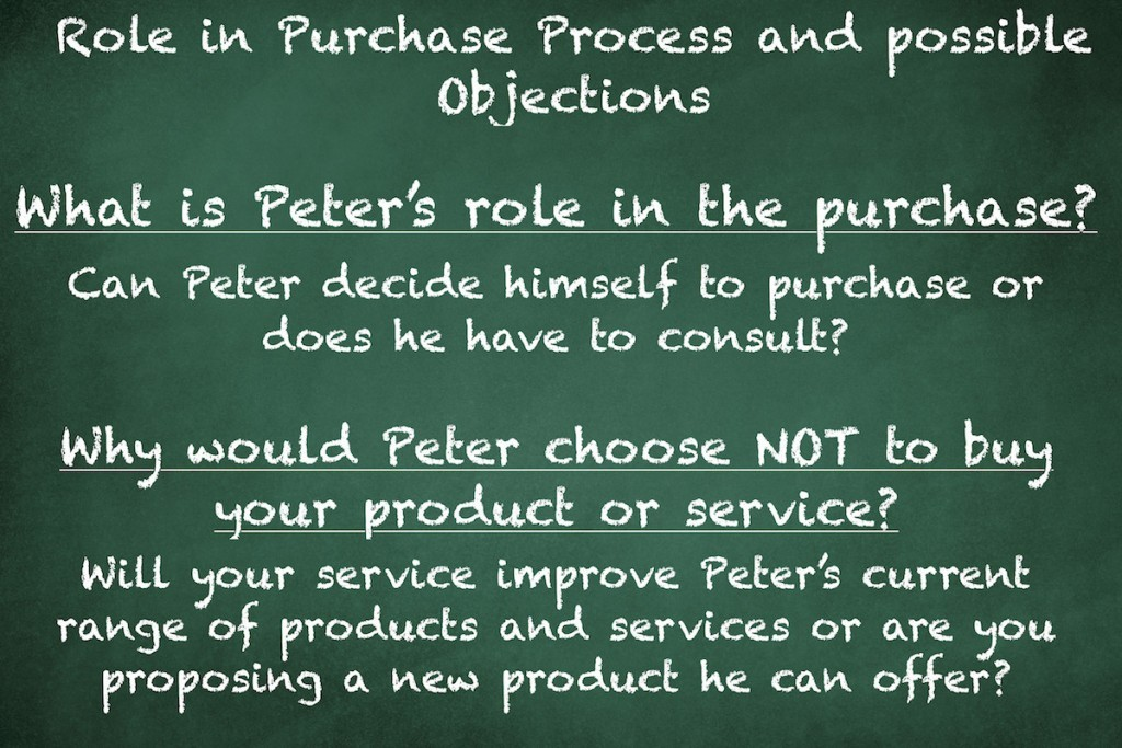 Role in Purchase Process and possible Objections