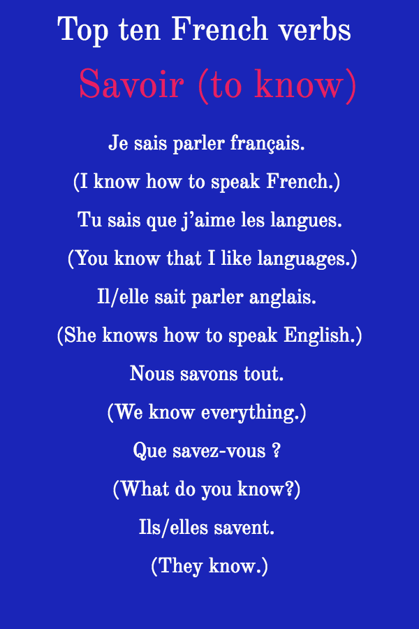 Top ten French verbs Savoir (to know)