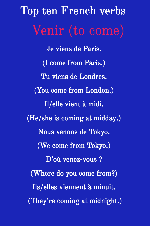 Top ten French verbs Venir (to come)